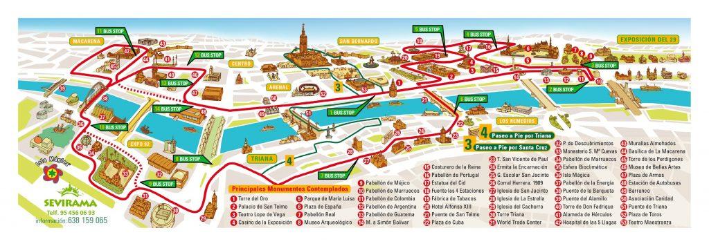 Plan de Séville Bus Sevirama