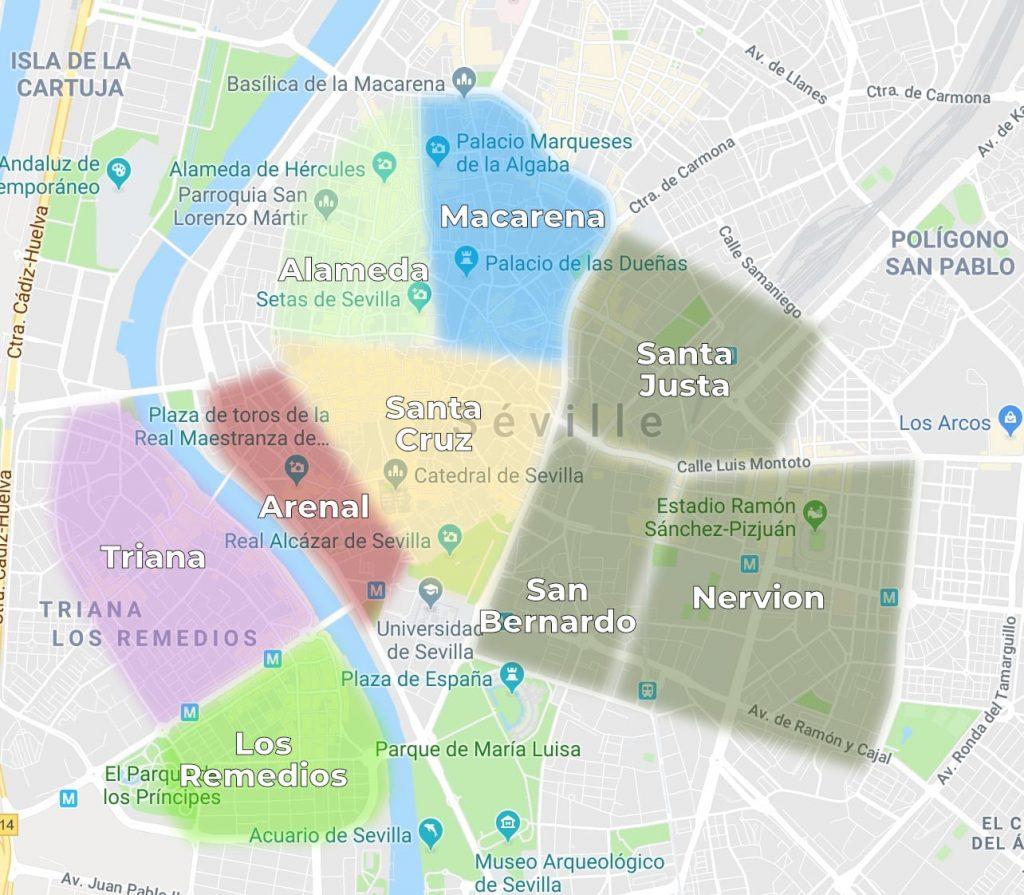 Les quartiers de Séville où se loger et les quartiers à éviter: la carte