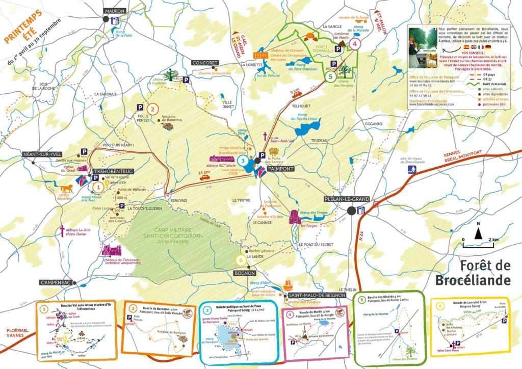 Plan de la forêt de Brocéliande, la forêt des druides bretagne