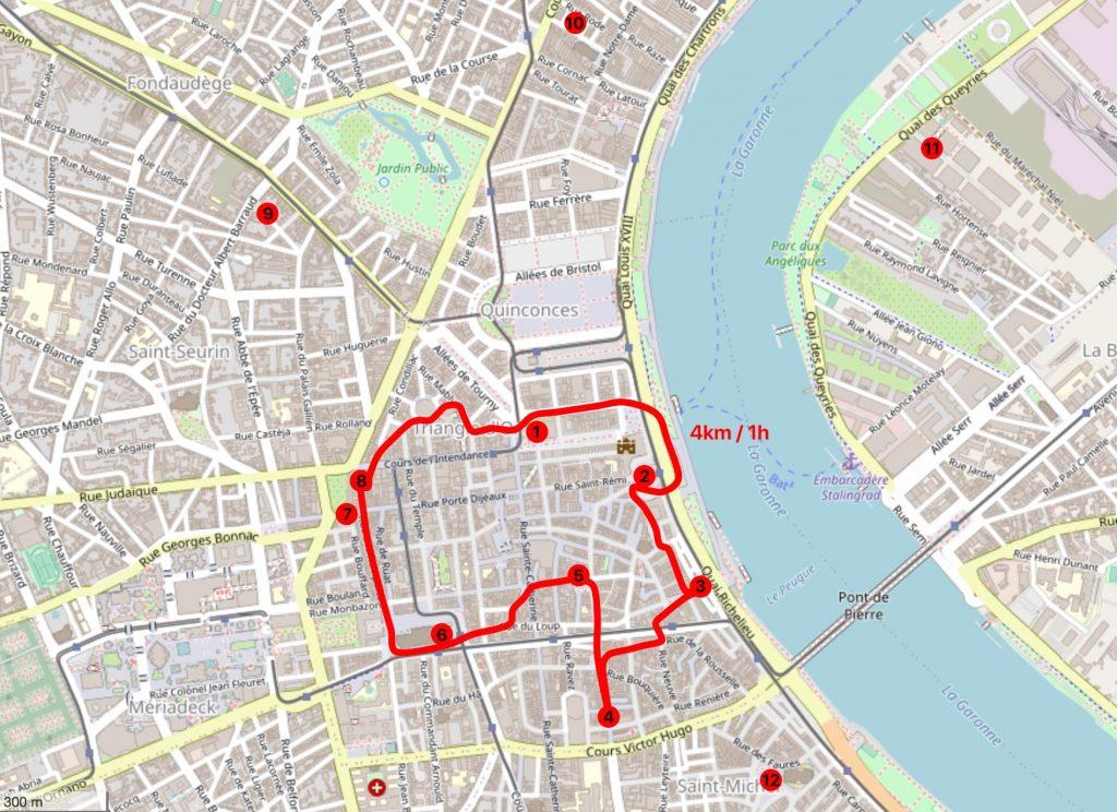 Plan/Carte pour visiter Bordeaux à pied