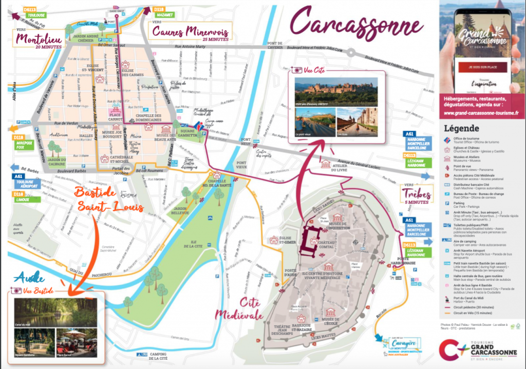 Visiter Carcassonne plan carte