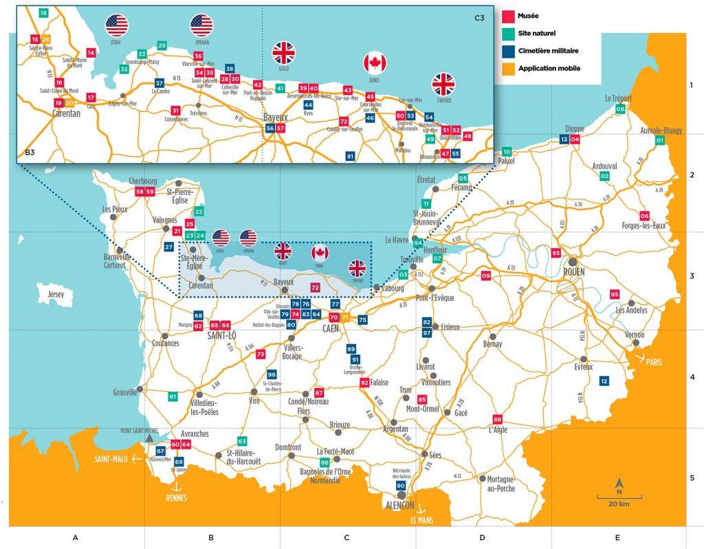 Carte Plages du débarquement Normandie