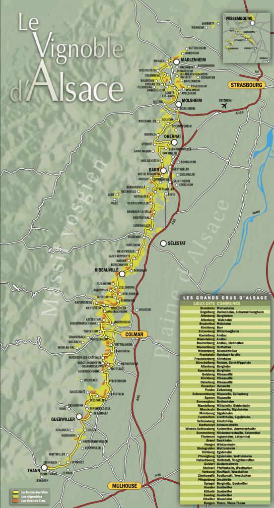 plan carte route des vins alsace en voiture